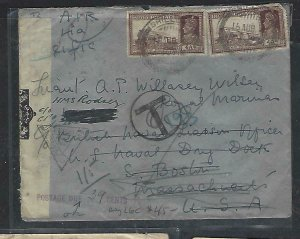 INDIA  (PP0711B) 1941 KGVI 4A TRAINX2 CENSOR A/M TO USA POSTAGE DUE 10CX3