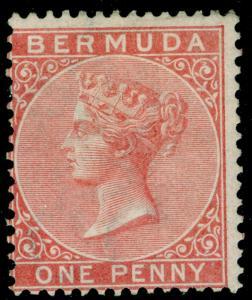 BERMUDA SG2, 1d pale rose, M MINT. Cat £140.