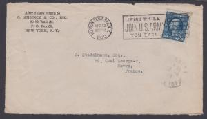 US Sc 504 perfin 'G/A' on 1920 Cover Front, JOIN U.S. ARMY Slogan cancel