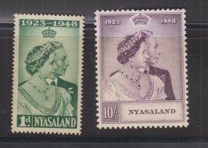 NYASALAND, 1948 Silver Wedding pair, mnh.