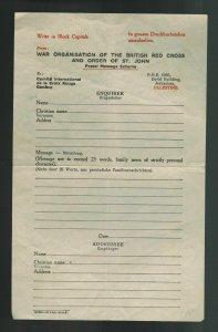 Unused Palestine Letter Inquiry Red Cross Switzerland Missing Person Form