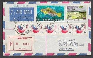 PAPUA NEW GUINEA 1977 Registered cover ex BAYER RIVER.......................B403