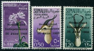 HERRICKSTAMP SOMALIA Sc.# 242, C68-69 1960 Overprints Mint NH