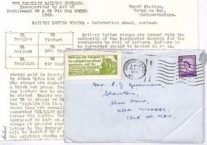 GB Wales *TALYLLYN RAILWAY*Advert Label IOM Regional 1959 {samwells-covers}GG319