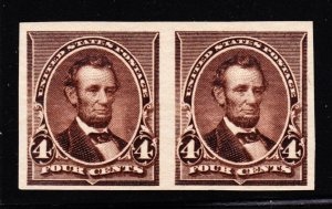 US 222P5 4c Lincoln Plate Proof Pair on Stamp Paper F-VF LH SCV $210