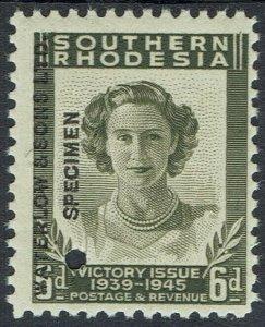 SOUTHERN RHODESIA 1947 ROYAL VISIT 6D WATERLOW PRINTER'S SPECIMEN MNH **