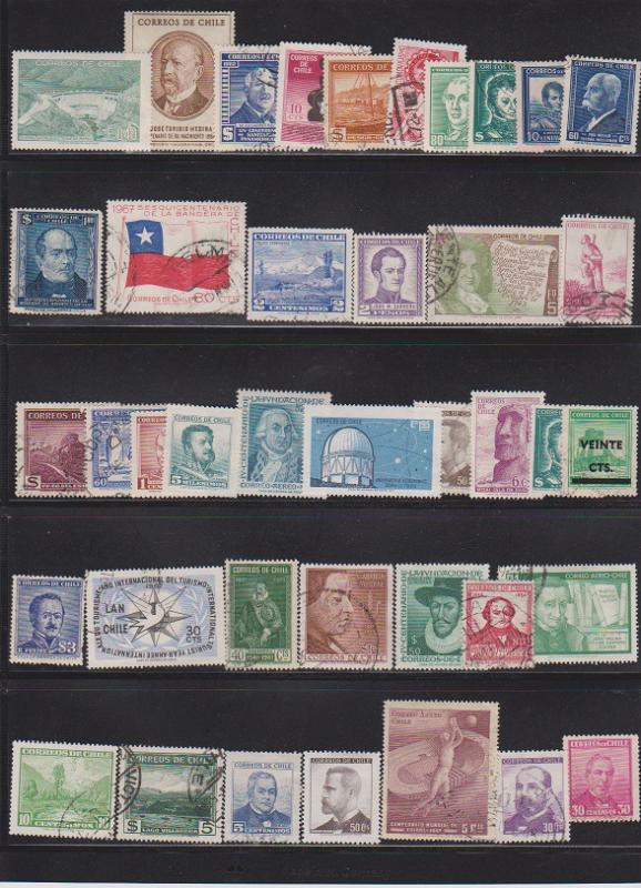 LOT OF DIFFERENT STAMPS OFCHILI USED (40 LOT#132