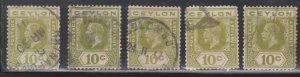 CEYLON Scott # 205 Used x 5 - KGV Definitive Watermark 3