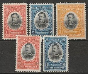 Ecuador 1904 Sc 160-4 partial set MH* (161 disturbed gum)