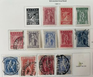 Set of 12, 1911 Greece Stamps 6 Mint Hinged, 6 Used