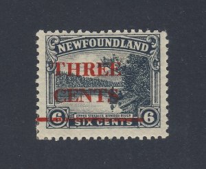 Newfoundland OP MH stamp #160iii-3c/6c C /T Off-Center Guide Value = $50-$100.00