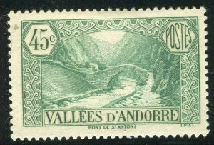 FRENCH ANDORRA; 1932 early Pictorial issue fine Mint hinged 45c. value