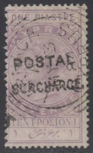 BC CYPRUS 1884 REVENUES Forbin 19 WITH POSTAL SURCHARGE + LARNACA CYPRUS Cds