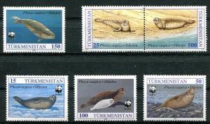 TURKMENISTAN 1993 SEALS - SEA LIONS - WORLD WILDLIFE FUND STAMPS - $10 VALUE!