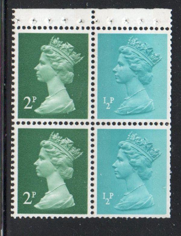 Great Britain Sc MH26a 1971 1/2dp & 2p Booklet pane label mint NH