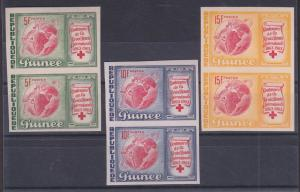 Guinea Sc 309-311 MNH. 1963 Red Cross, imperf pairs, XF