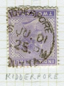 INDIA; POSTMARK fine used cancel on QV issue, Kidderpore