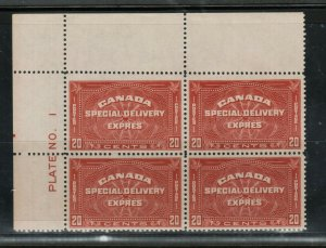 Canada #E5 Very Fine Mint Plate #1 Never Hinged UL Block