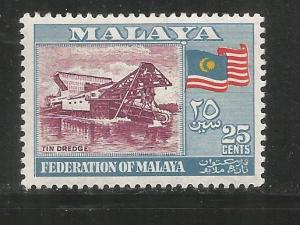 MALAYA  82  MNH,  TIN DREDGE AND FLAG