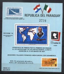 PARAGUAY 1978,AVIATION,PILOT PINEDO,MAP,S/S  MI  BL 327,MNH CV 30 EU