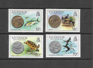FISH, TURTLE, BIRD - ASCENSION #355-8 NEW COINAGE  MNH