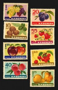 Romania fruits apple nugget olive grape plum pea strawberry MNH complete cv$12