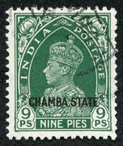 CHAMBA STATE SG84 KGVI 9p green Fine Used (genuine postmark)