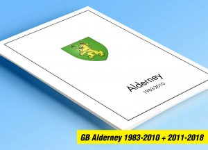 COLOR PRINTED GB ALDERNEY 1983-2018 STAMP ALBUM PAGES (80 illustrated pages)