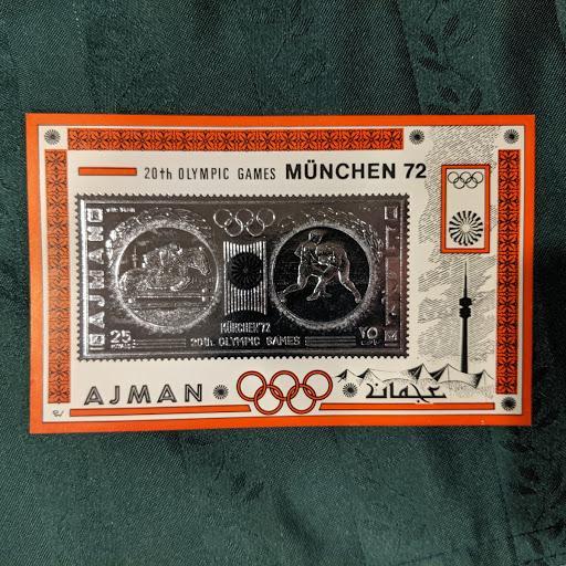 Ajman Mi Blk 336 Silver Foil, XFNH, CV $39