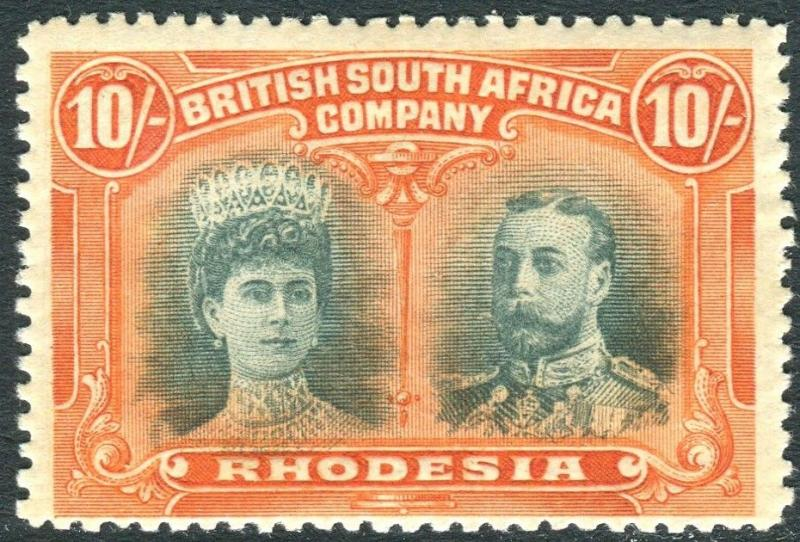 RHODESIA-1910-13 10/- Blue-Green & Orange. A lightly mounted mint example Sg 164