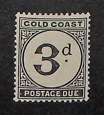 Gold Coast J4. 1923 3p Black postage due