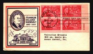 US SC# 931 FDC / Plate BK of 4 / Little White House Cachet - Z18500