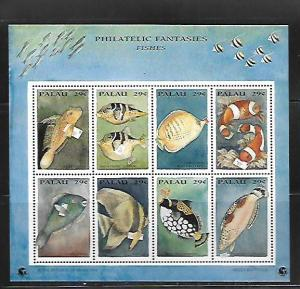 PALAU, 334, MNH, SS, SHEET OF 8, FISHES