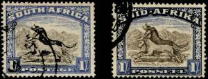 South Africa SC# 29a-b Gnu 1sh perf 14 Used