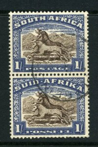 South Africa 1933 KGV 1/- vertical pair SG 62 used..