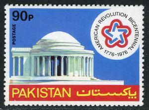 Pakistan 408, MNH. Jefferson Memorial, US Bicentennial Emblem, 1976