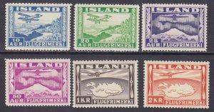 Iceland C15-20 Mint OG 1934 Plane over Thingtvalla Lake Full 6 Stamp Set Scv $48