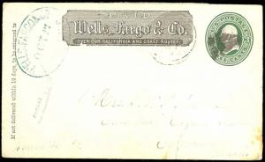 U82 ENTIRE WITH WELLS FARGO & CO 1870's ADVERTISING