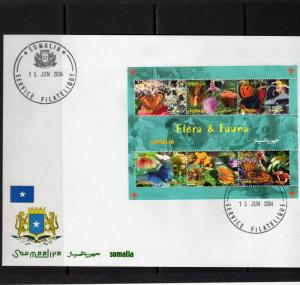 Somalia 2004 BUTTERFLIES/MUSHROOMS/SCOUTS Sheetlet (6) Perforated FDC