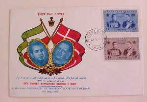 IRAN  FDC SHAH & KING FREDERIK OF DENMARK 1963  COLORED CACHET UNADDRESSED