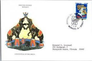 Monaco, Worldwide First Day Cover, Circus