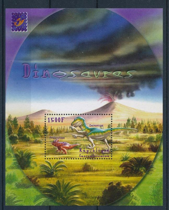 [26820] Central African Republic 2001 Pre Historic Animals Dinosaurs MNH  Sheet
