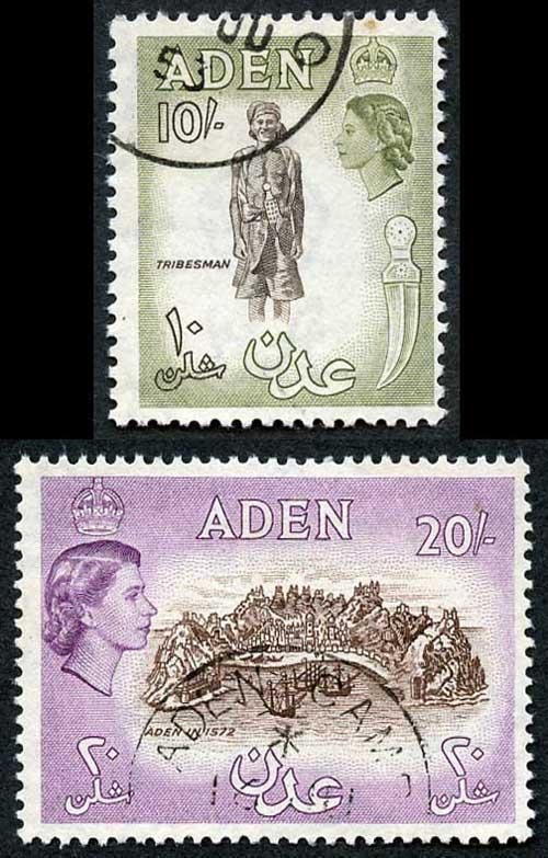 Aden SG69 and SG71 QEII 10/- and 20/- Fine Used