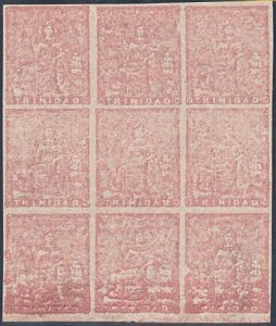 TRINIDAD 1860 (1d) SG20 A superb MNH block of 9 with full margins..........29182