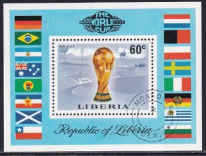 Liberia 1974 Sc C203 World Soccer Championship Cup Munich Field Stamp SS CTO NH