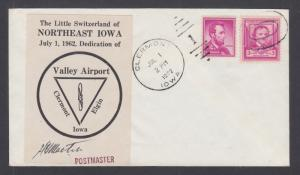 US Sc 986, 1036 on 1962 NE Iowa Valley Airport Dedication cover, signed by PM