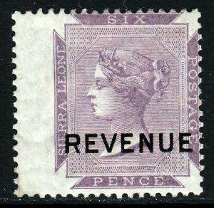 SIERRA LEONE QV REVENUE Overprint on 6d. Dull Purple Wing Margin MINT