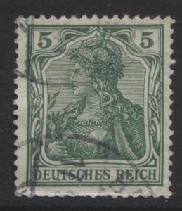 GERMANY. -Scott 67- Definitives -1902 - Used - Green - Single 5pf Stamp1