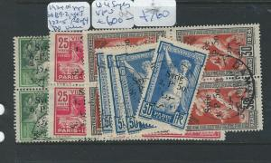 SYRIA  (PP1303B) 1924 OLYMPICS SG 139-41 BL OF 4+4 SINGLES 142  VFU