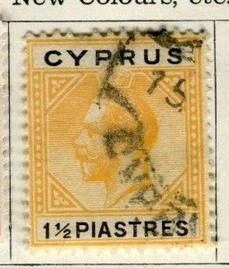 CYPRUS; 1922 early GV issue fine used 1.5Pi. value